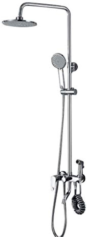 Dusche Wasserhahn ZQG Multifunktions-Vierstufen-Handbrause-Thermostat-Duschset aus Kupfer