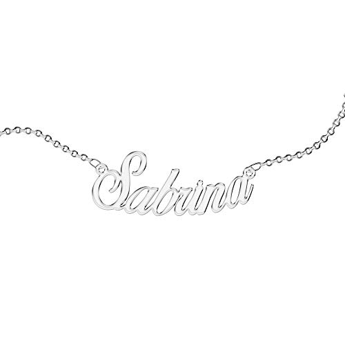 Personalized Necklace, for Woman, with Name. Wear Your Name. Stainless Steel and Hypoallergenic. Silver colour. Designed in Italy. (Sabrina)