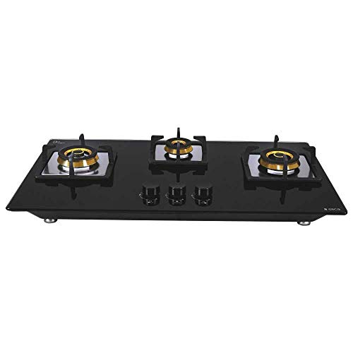 Elica Hob 3 Burner Auto Ignition Glass Top - 1 Small and 2 Medium Brass Gas Stove (Flexi FB HCT 375 DX)