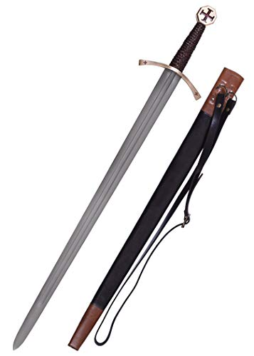 Battle-Merchant - Templerschwert aus echtem Stahl mit Scheide - echtes Metall - für Erwachsene - Ritterschwert für Mittelalter- & Kreuzritterkostüme