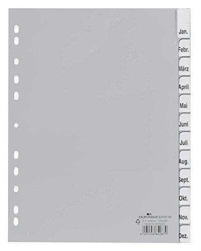 Durable 641010 Ordnerregister (aus PP, Tabe blanko, für A4, 12 Blatt) grau