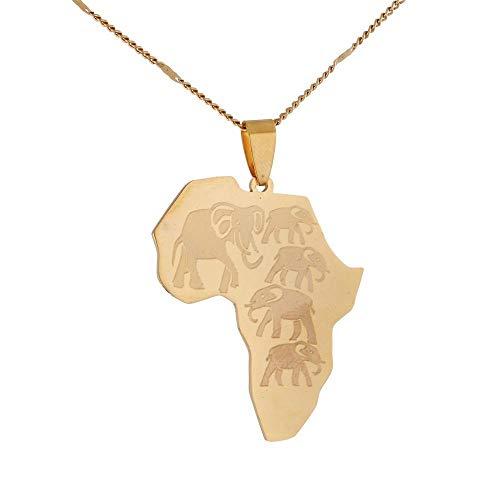 QAZQAZ Stainless Steel Africa Map Pendant Necklaces Map of African Trendy Wildlife Elephants Pattern Necklace Map Pendant Necklace,Men Women Gift