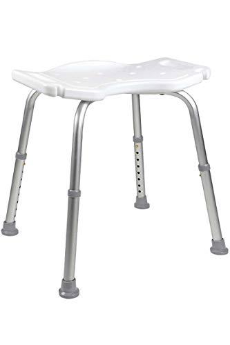 Altagshilfe - Duschhocker, höhenverstellbar, Anti-Rusch-Kante für stabilen Sitz - max. 150kg