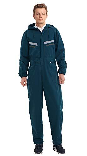 Oralidera Tuta da Lavoro da Uomo Multitasche Salopette da Lavoro con Cappuccio, Policotone Pantaloni da Lavoro con Strisce ad Alta Visibilità (L, Verde)