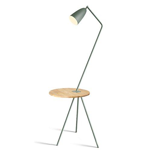 Lámparas de pie Lámpara de pie simple, lámpara de pie de metal E27 con lámpara de pie de tabla de madera para el dormitorio, sala de estar, oficina, H150cm × W65cm lámparas de pie ( Color : Green )