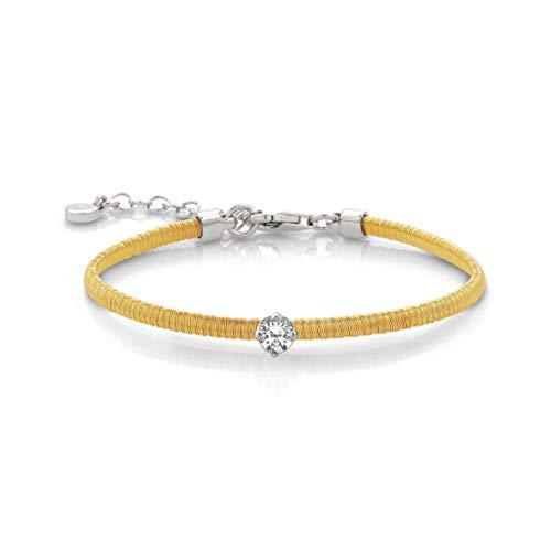 Nomination Armband Flair in Silber mit weißen Zirkonia – gelb Gold