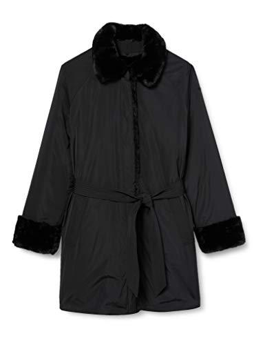Geox W Kaula abrigo de pelo sintético, Negro, 46 para Mujer
