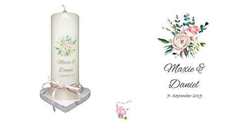 Hochzeitskerze Blumenstrauß im handlettering & watercolor Design