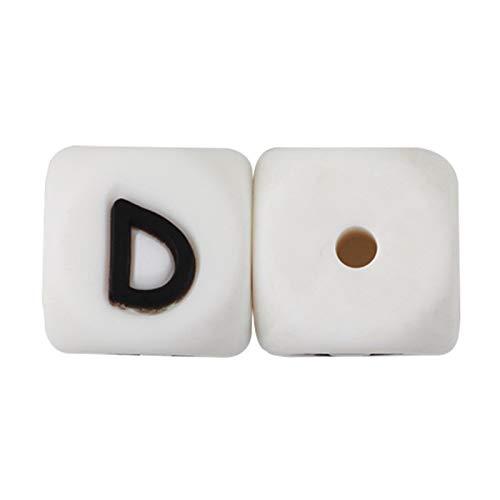 Miwaimao Landia 10 piezas silicona alfabeto inglés perlas letras sin BPA material para bricolaje bebé collar de dentición anillo de dentición
