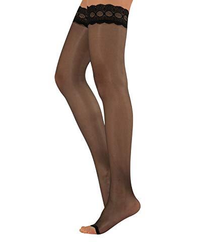 CALZITALY Zehenfreie Halterlose Strümpfe | Open Toe Halterlose Peep Toe | Sommer Feine Halterlose | 10 DEN | S, M, L, XL | Schwarz, Hautfarbe | Made in Italy (L/XL, Schwarz)