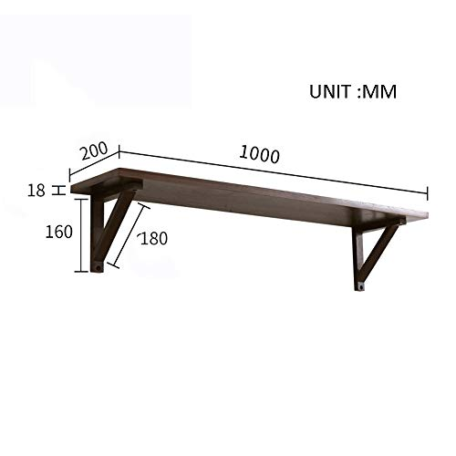 FEI Étagères flottantes, étagère murale en bois, support de rangement décoratif pour organiseur de rangement avec supports, bois et noyer (1 étagères) (Couleur : B, taille : 100 * 20 * 17.8CM)