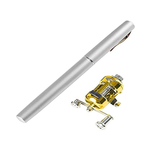 Pen Fishing Rod Reel Combo Set Premium Mini Pocket Collapsible Fishing...