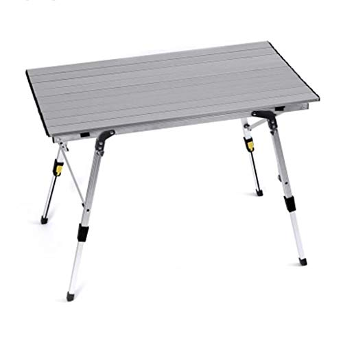 Tables de pique-nique Table Ultra Léger Extérieur Table Pliante Chaise Circuit Auto-Conducteur Voiture Métal Portable Table Barbecue (Color : Silver, Size : 90 * 53 * 65cm)