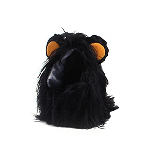 puseky Divertida peluca de gato de melena de león negro con orejas de imitación para Halloween fotografía de Navidad