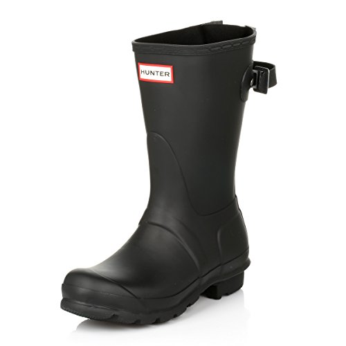 HUNTER Original Short Back Adjustable Rain Boots Black 9 M