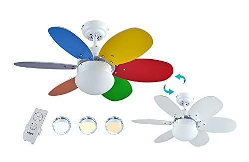 Bastilipo Caleta RC-Ventilador de Techo con Mando a distancia-60W y 75cm de diametro-Luz LED incorporada, Multicolor/Blanco, 75 cm