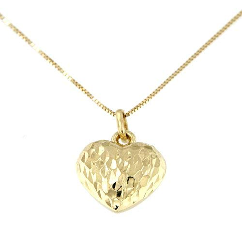 Lucchetta - Collar Mujer 14 quilates 585 Colgante Oro Amarillo Corazón Efecto Diamante