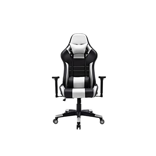 BKWJ Silla de Juego de computadora ergonómica, Silla de Escritorio de sillas de Oficina, Silla de Cuero cómodo sirfante Silla de Cuero (Color : White)