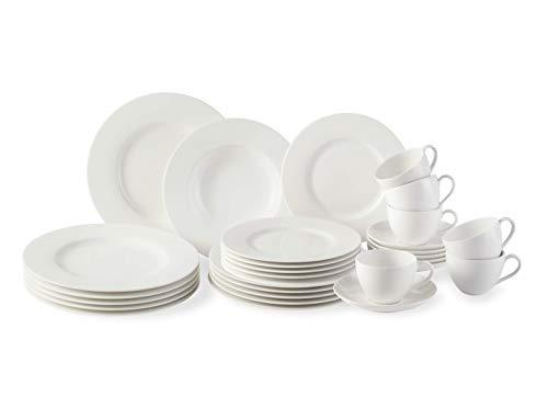 Vivo by Villeroy & Boch Group Basic White Set Combinato di Stoviglie da 30 Pezzi, Porcellana Premium, Bianco