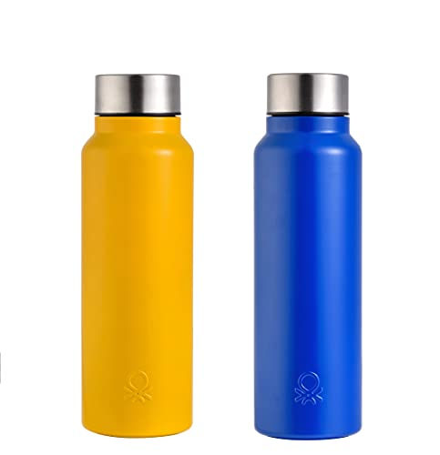 UNITED COLORS OF BENETTON. 2 Botellas de Agua 750 ml c/u, Acero Inoxidable, Azul + Amarillo
