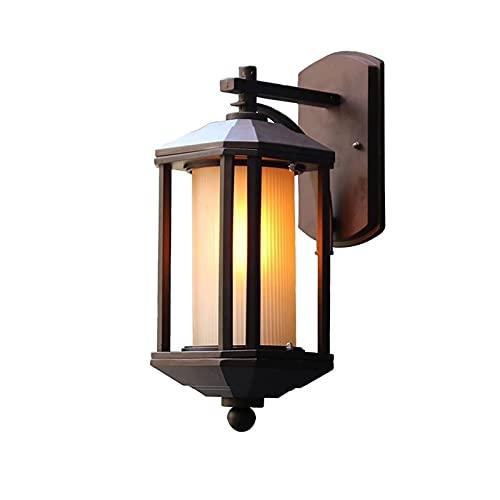 YXLMAONY Lámpara de pared moderna de hierro forjado con pantallas de vidrio, lámpara de pared decorativa para patio E27 de ahorro de energía de larga duración, adecuada para balcón de pasillo de villa