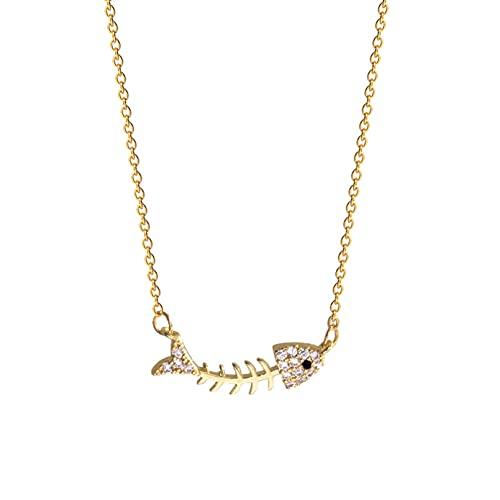Colgante collar joyería Collar de hueso de pescado francés de gama alta de lujo joven collar de mujer nicho cadena de clavícula de acero de titanio collar de temperamento simple regalo de cumpleaños