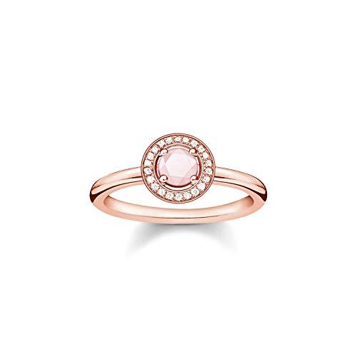 THOMAS SABO Damen-Ring Mondlicht mit Rosenquarz Silber vergoldet Quarz rosa Diamant Gr. 52 (16.6) - D_TR0009-925-9-52