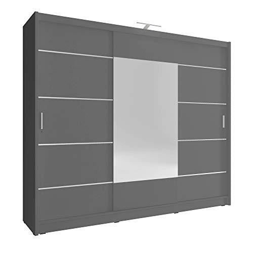 Armario de roble de 3puertas correderas con espejo grande y luz LED para dormitorio de estilo moderno, (blanco, marrón oscuro y claro), de SARAH 250 ALU