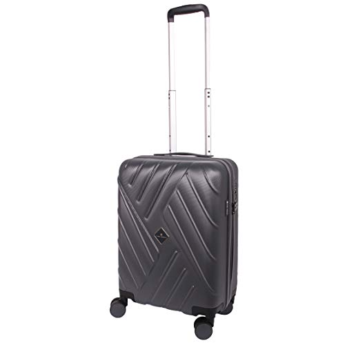 Super Lightweight ABS Hard Shell Cabin Approved AER Lingus Easyjet BA - Travel 22 Inch Suitcase Gino Ferrari | Hard Sided Luggage with 8 Spinner Wheels | TSA Lock | 2.7kg Fits 56x45x25 (S, Charcoal)