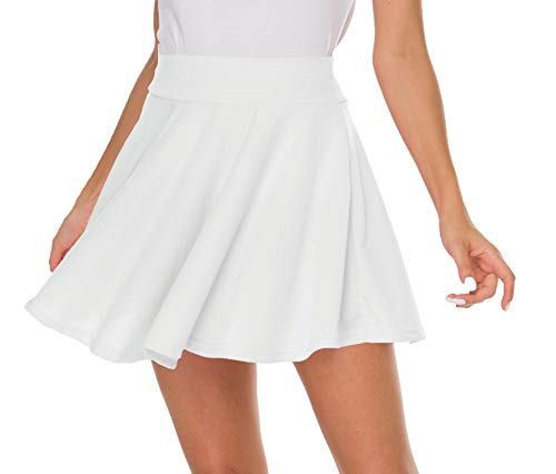 Sinono Basic Stretchy Solid Flared Casual Mini Pleated Skater Skirt (Medium, White)