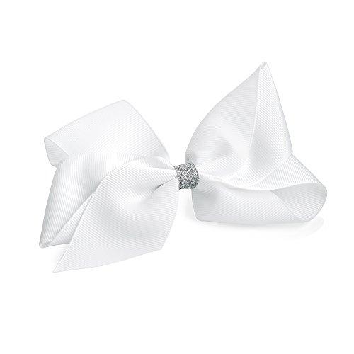 Grande pince à cheveux en forme de nœud avec ruban à paillettes Blanc