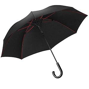 強風豪雨対策 Lilystar 長傘 超大140cm メンズ 大きい傘 特大 丈夫 撥水 耐風 軽量 傘 大型 紳士傘 Teflon加工 新強化グラスファイバー傘骨 自動開け 晴雨兼用 梅雨対策 台風対策 男女兼用 (Black-Red)