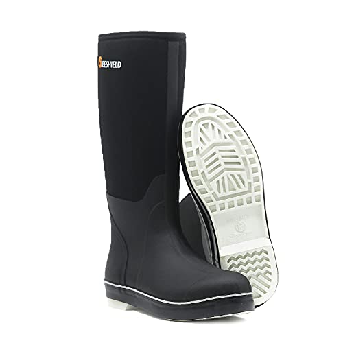 GIEESHIELD Men's Work Boots Hunting Boots Neoprene Rubber Rain Boots Muck Mud Boots Insulated Outsole (Black, Numeric_9)