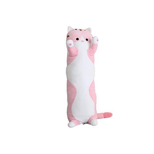 HUOQILIN Knuffel kat bed kussen lang kussen pop schattige pop knuffel pop gift (Color : Pink, Size : 110cm)