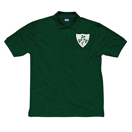 Kids Vintage gesticktem Wappen Irish Rugby Polo Shirt aus Print Me A Shirt in Flasche Grün Gr. X-Large, Bottle-Green