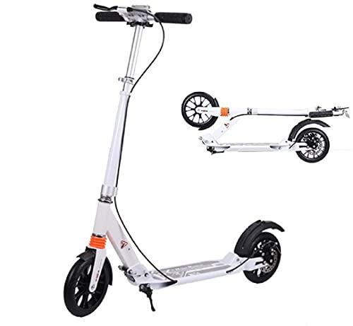 COSMOLINO Patinete para adultos con freno de mano, patinete para niños, patinete de ciudad, plegable, rueda de 200 mm, soporta hasta 100 kg, color negro