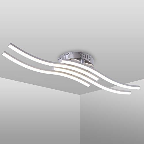 LED Deckenleuchte, Einfache Wellenförmige Deckenlampe, 4 flammig, 4.000K Neutralweiß 24W, 2.000 Lumen, Moderne LED Lampefür Wohnzimmer oder Küche (Neutralweiß)
