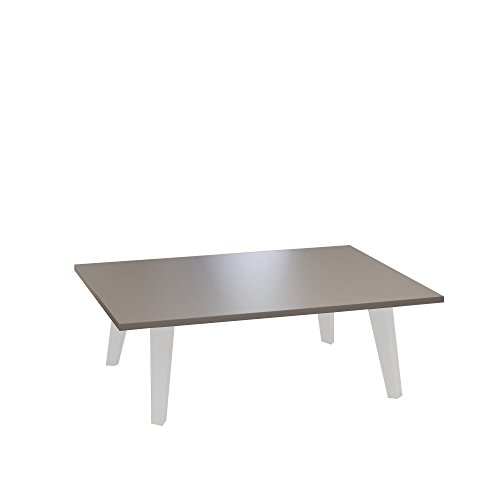 TemaHome Table Basse Pieds Inclines, Autre, Blanc/Taupe, 89 x 67 x 28,2 cm