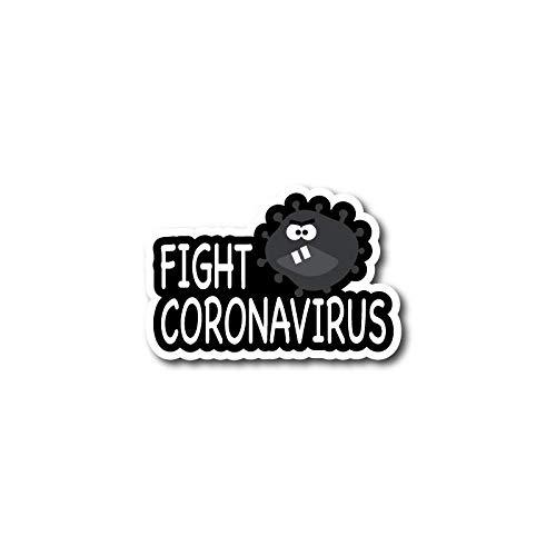 ADESIVO STICKERS FIGHT LOTTA CONTRO IL CORONAVIRUS 10X5CM
