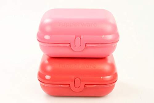 TUPPERWARE To Go Twin rot + pastellrot Brotdose Box (2) Behälter Dose Größe 3