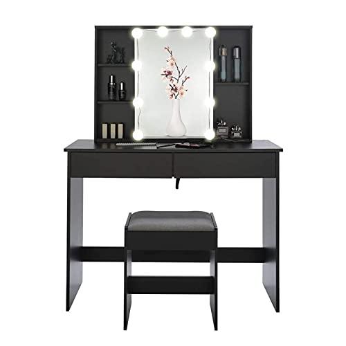 CJHOME Tocador con Escritorio de Espejo y Maquillaje de Taburete, Mesa de tocador de Madera Tabla de Vestir de Mesa cosmética, con 5 estantes y 2 cajones 39.4'L * 15.7' W * 53.7'H
