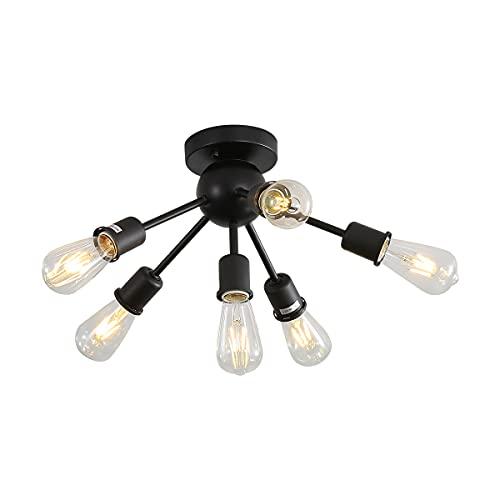 Lamparas de Techo Vintage, 6 Luces E27 Lámpara Colgante de Techo Industrial...