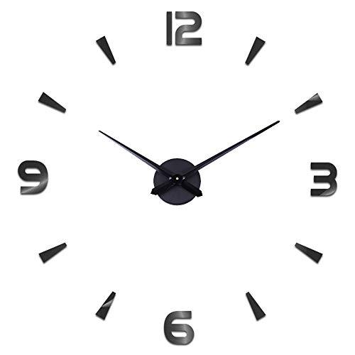 Moderno Reloj de Pared silencioso DIY Reloj de Pared Adhesivo 3D Reloj de Pared para decoración Regalo para casa, Restaurante, Oficina y Hotel (Negro)