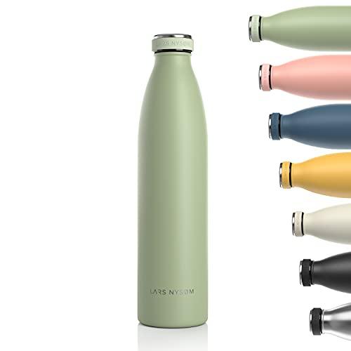 Lars NYSØM Borraccia Termica 1 litro in Acciaio Inox | Bottiglia isolata Senza BPA 1000ml | Bottiglia dAcqua a Tenuta stagna per Sport, Bicicletta, Cane, Bambino, Bambini
