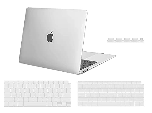 Midkart Hard Shell Plastic Case Cover Compatible with MacBook Air 13 Inch with Touch ID (Model M1 A2337 / A1932 / A2179, Release 2020 - 2018) with Key Guard & Dust Plugs, Crystal Clear Transparent