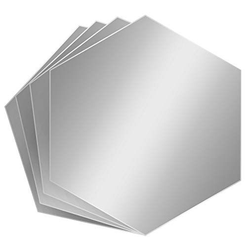 Strong Mirror Tiles  Hexagon Mirror Wall Stickers, 4 Set  8 x 9 x 4.5 Inch Self Adhesive Acrylic Mirror Sheets  Ultra-Flexible 1mm Thickness  Peel-Off Protective Layer  Ideal for Gym, DIY, Decor