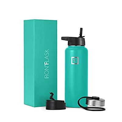 Iron Flask Sports Water Bottle - 14oz,18oz,22oz,32oz,40oz,64oz,3 Lids (Straw Lid),Vacuum Insulated Stainless Steel, Modern Double Walled, Simple Thermo Mug, Hydro Metal Canteen…