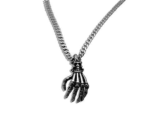 Enez Edelstahl-Halskette (4mm) 60cm + Skelett-Hand Anhänger in Silber 3,7cm X 1,7cm T410-4-60