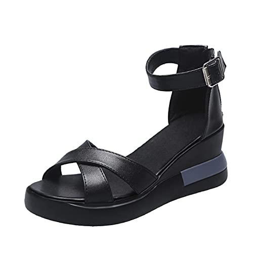 Scarpe col Tacco Donna Moda Sandali con Zeppa Plateau Wedge High Heels (02D-Black,39)