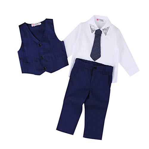 Diamond66 4 peças estilo britânico menino cavalheiro camiseta calças colete gravata roupas, Dark Blue, 70CM - 6-12M